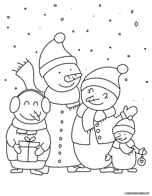 Snowmen Family Coloring Page