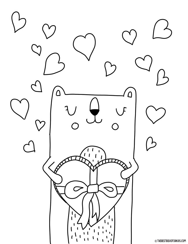 Valentine Bear Coloring Page for Kids