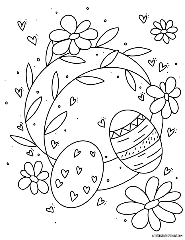 Easter Wreath Coloring Page