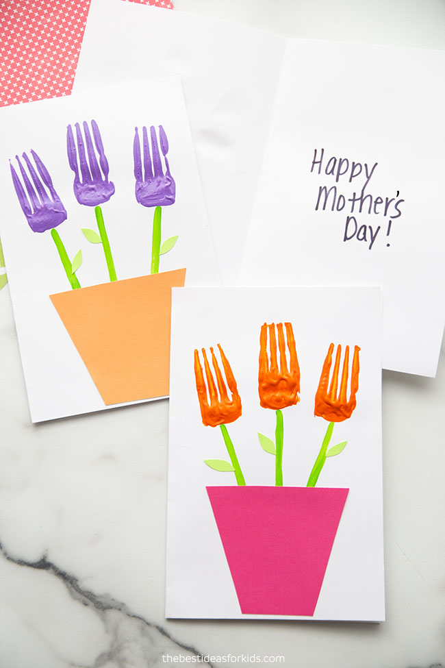 Fork Painted Flowers Craft