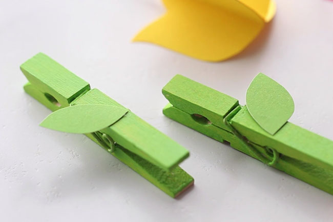Glue Leaves on Clothespins
