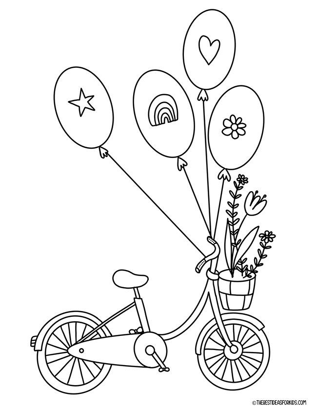 Spring Bike Coloring Page