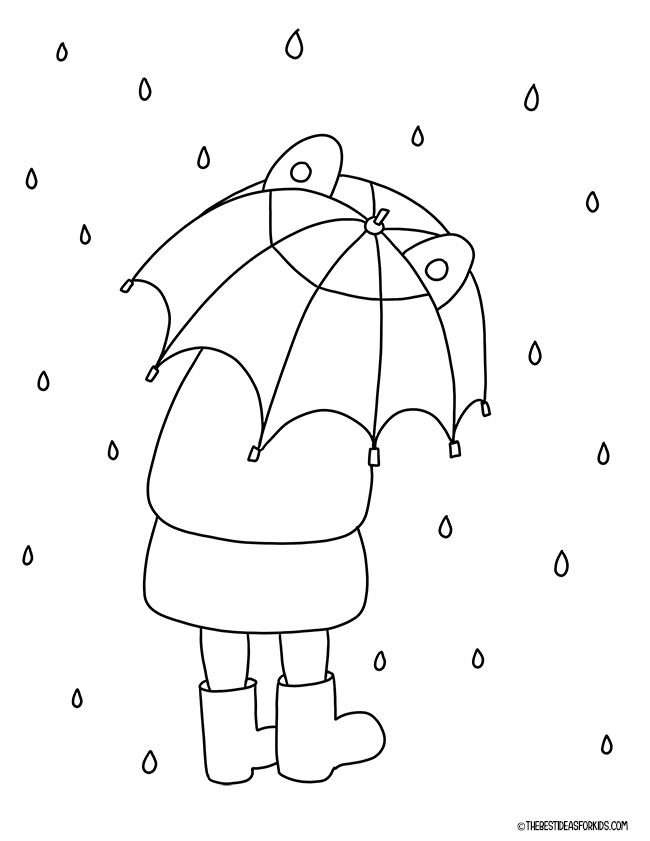 Umbrella Spring Coloring Page