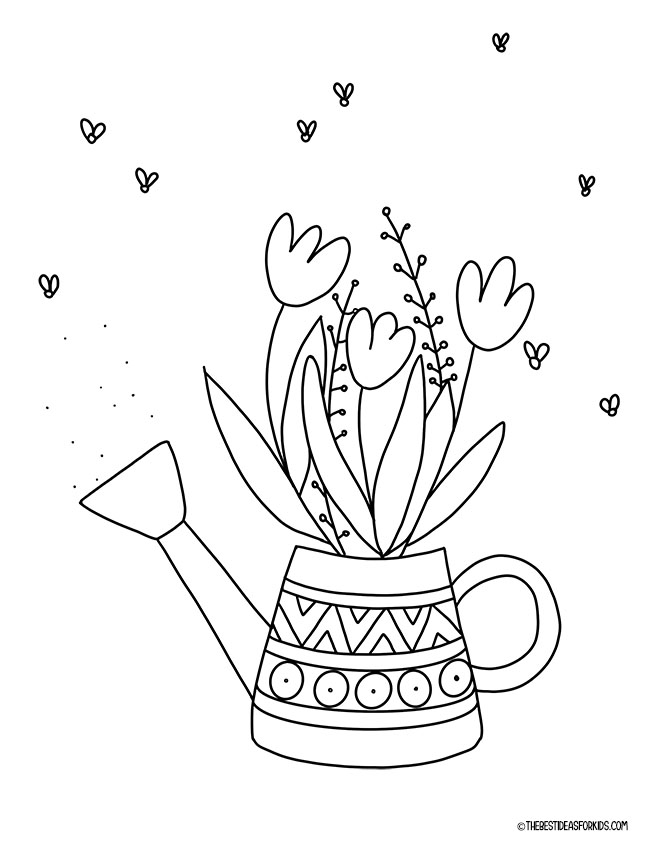 Watering Can Spring Coloring Page