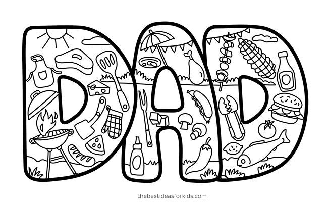 Dad Grilling Doodle Card