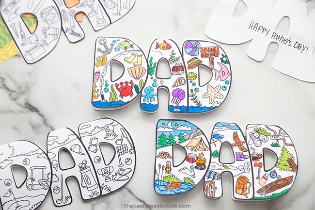 Printable Father's Day Card to Color