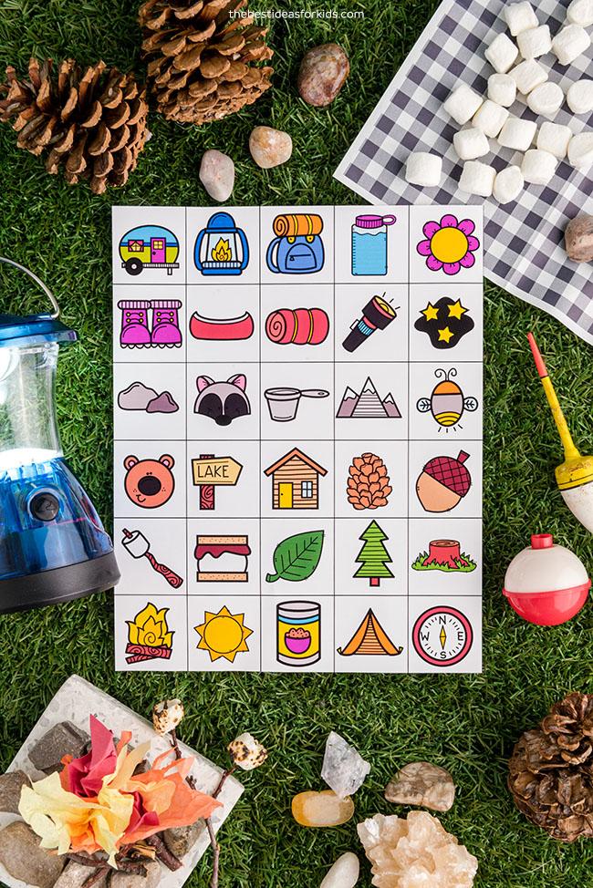 Camping Bingo Calling Cards
