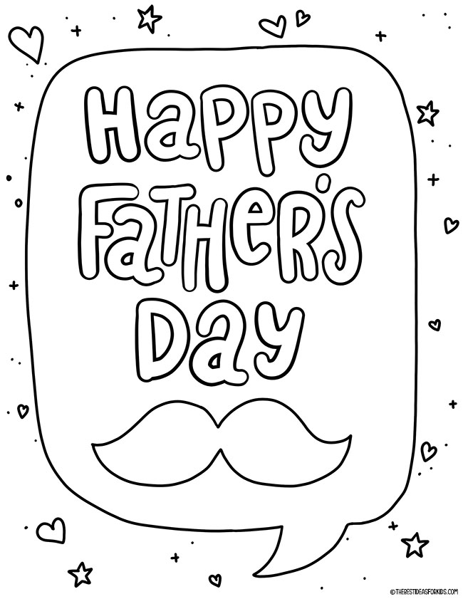 Moustache Happy Father's Day Coloring Page