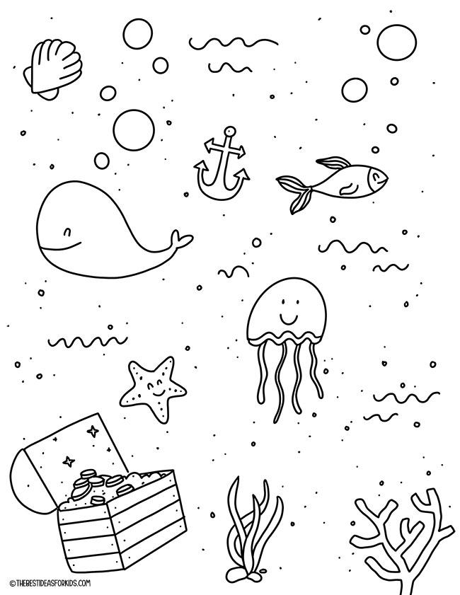 Página para colorir de verão do oceano