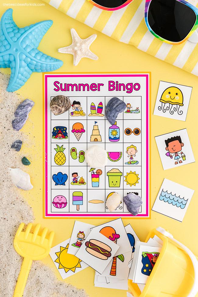 Cartões para impressão grátis de bingo de verão