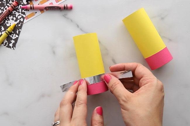 Glue tin foil on top