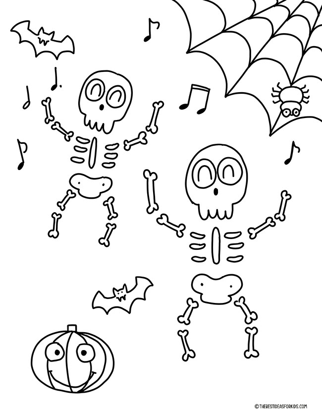 Skeletons Coloring Page