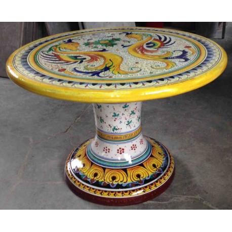 Splendido tavolo in ceramica deruta con decoro floreale, tavoli garantiti per l'esterno, un investimento che dura negli anni. Ceramic Round Table Rich Deruta Style