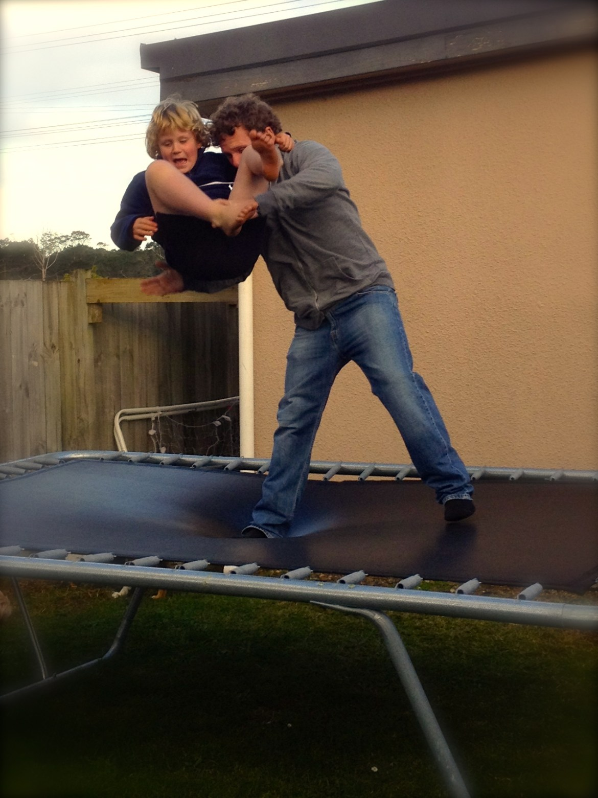 Playing on the tramp