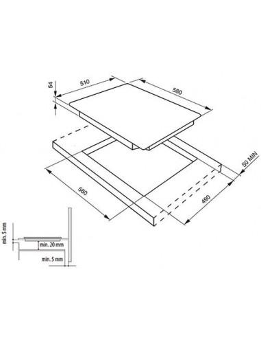 plaque induction smeg 3 foyers 6500w noir