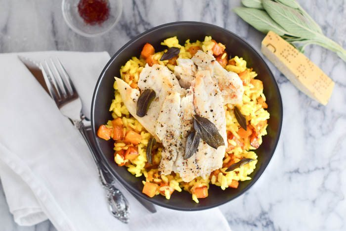 Butternut Saffron Risotto with Seared Barramundi