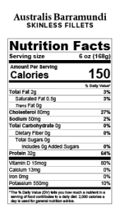 Australis Skinless 6oz 168g Nutrition Facts Label