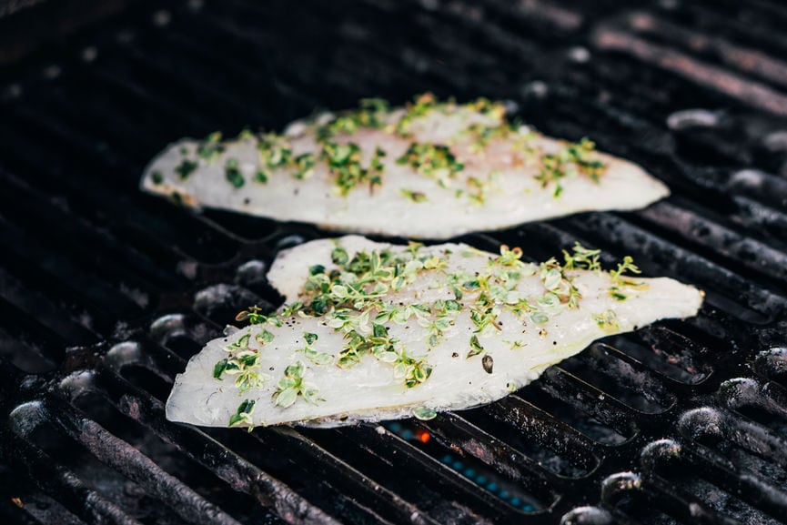Barramundi fillets on the grill