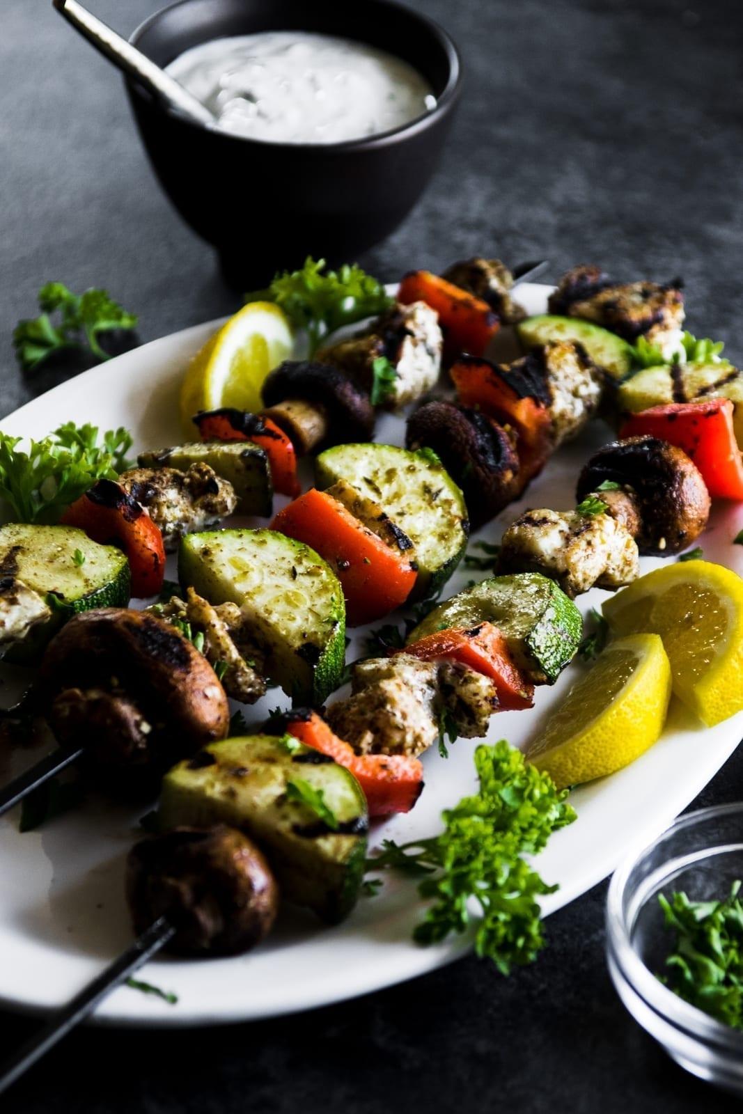 Grilled Za'atar Barramundi & Vegetable Skewers