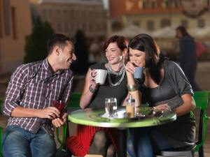 friends for tea on the terrace