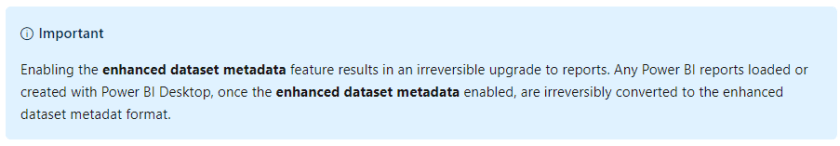 Store datasets in enhanced metadata format