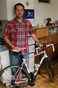 My kind & hospitable host in Ljubljana - and a keen mountain biker