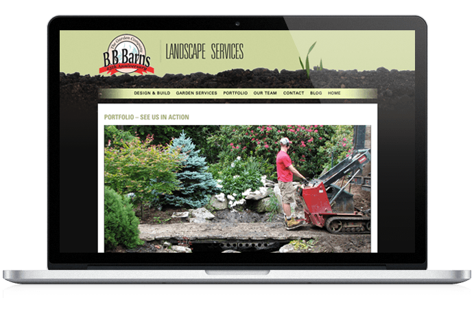 BB Barns Website Design Landscape Page