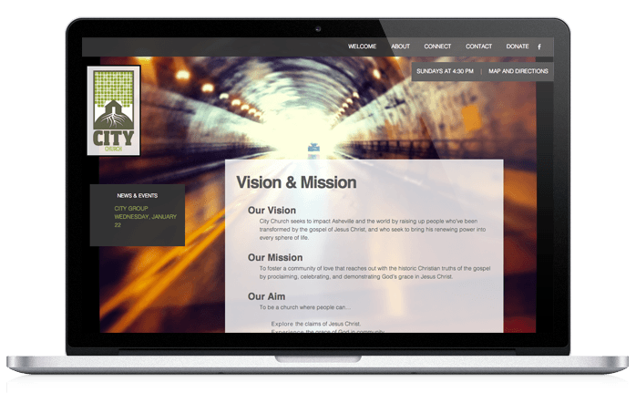 City Church Web Design Vision & Mission Page
