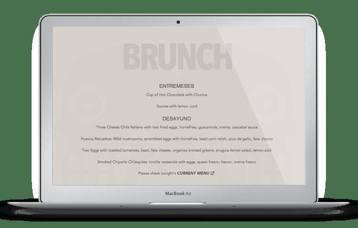 Limones Web Design Menu Page