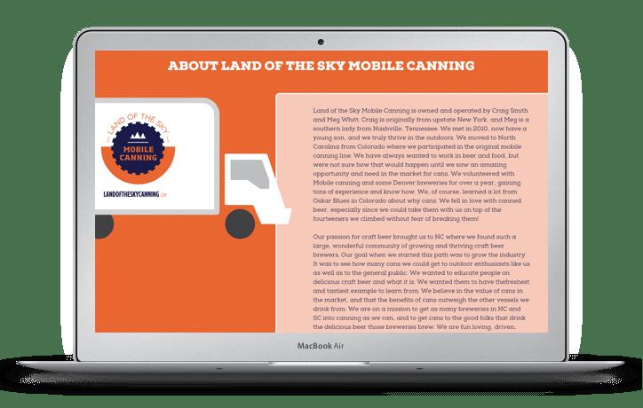 Land of the Sky Mobile Canning Website Design