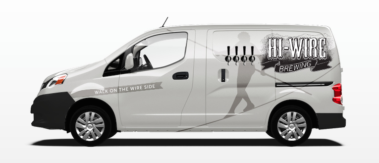 Hi-Wire Brewing Van Wrap driver side