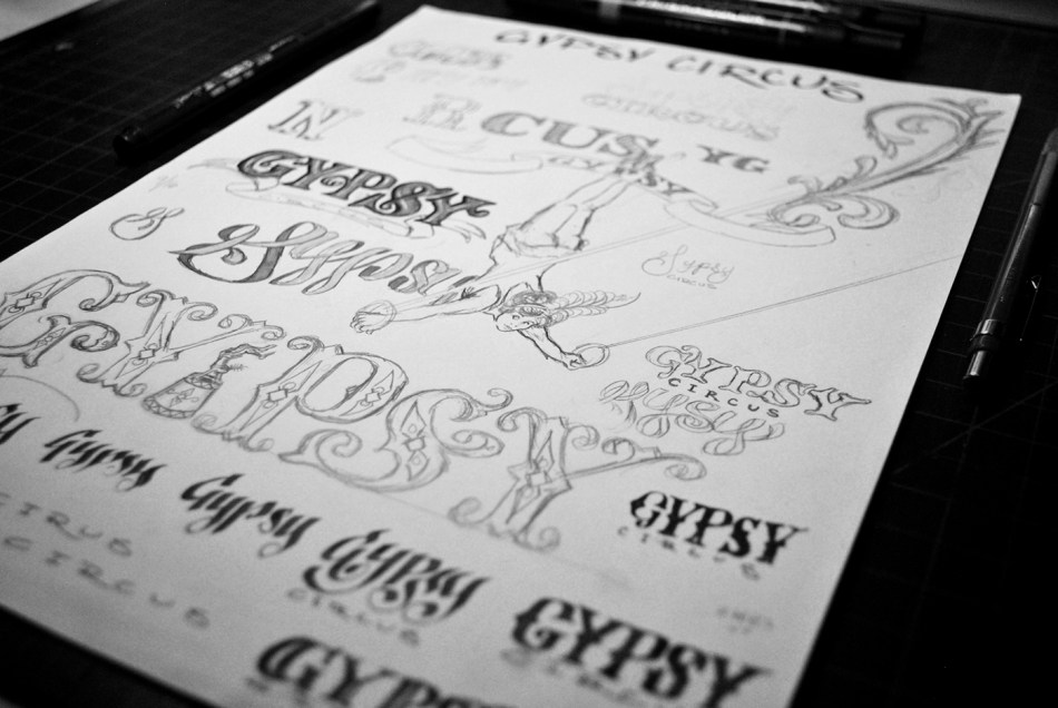 More variations on the Gypsy Circus Cider Company Logo
