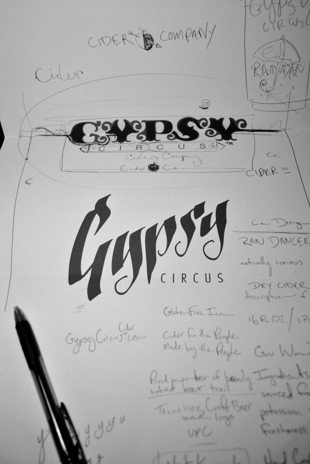 Two options for the Gypsy Circus Cider Company Logo