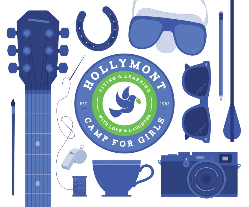 Hollymont Camp for Girls Logo and Illustrations