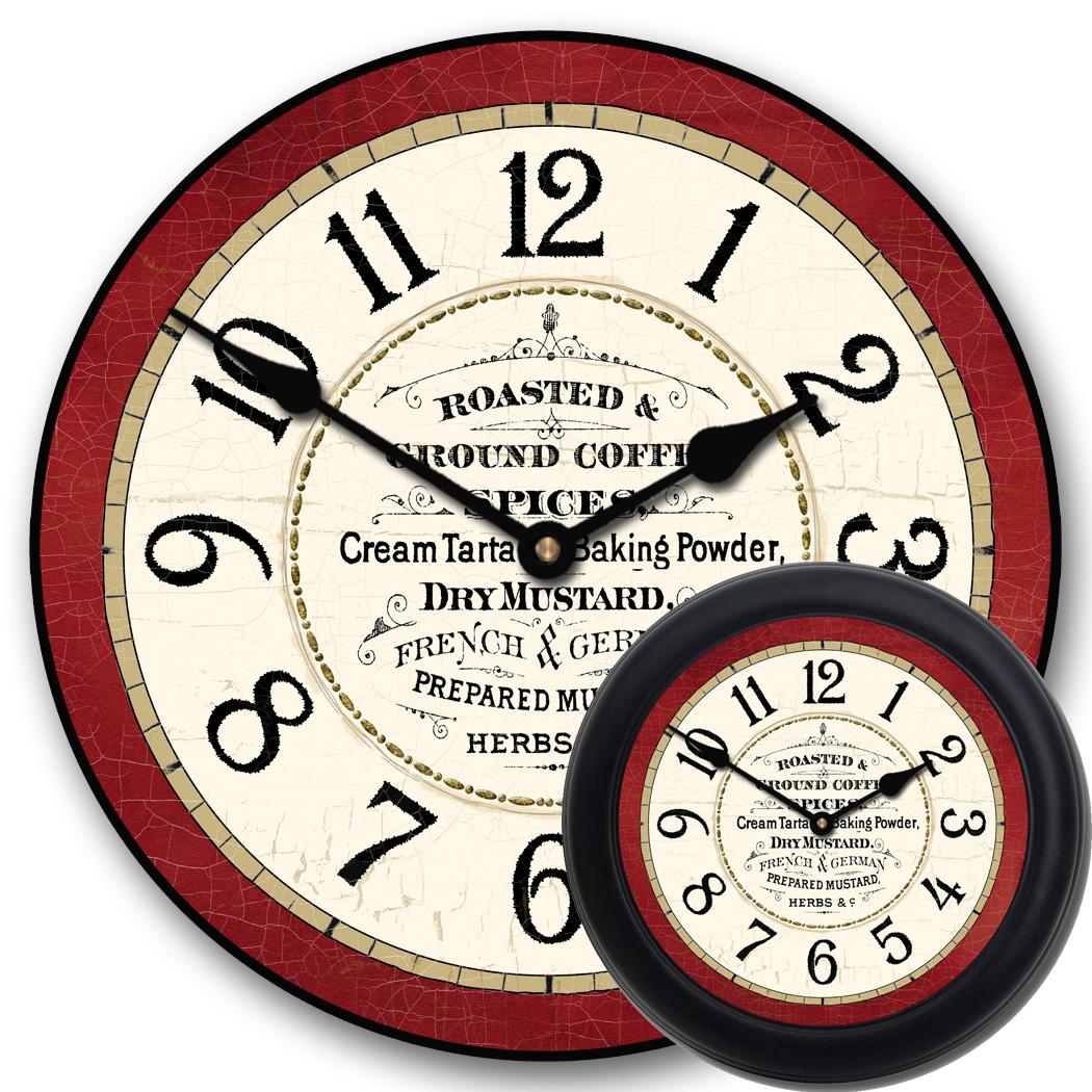 Red Kitchen Wall Clock  Vintage Kitchen Clock