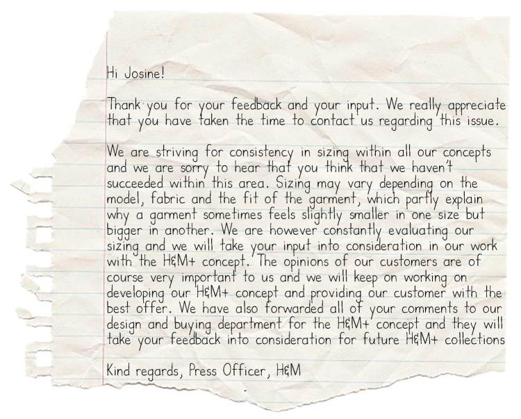 a reply from H&M