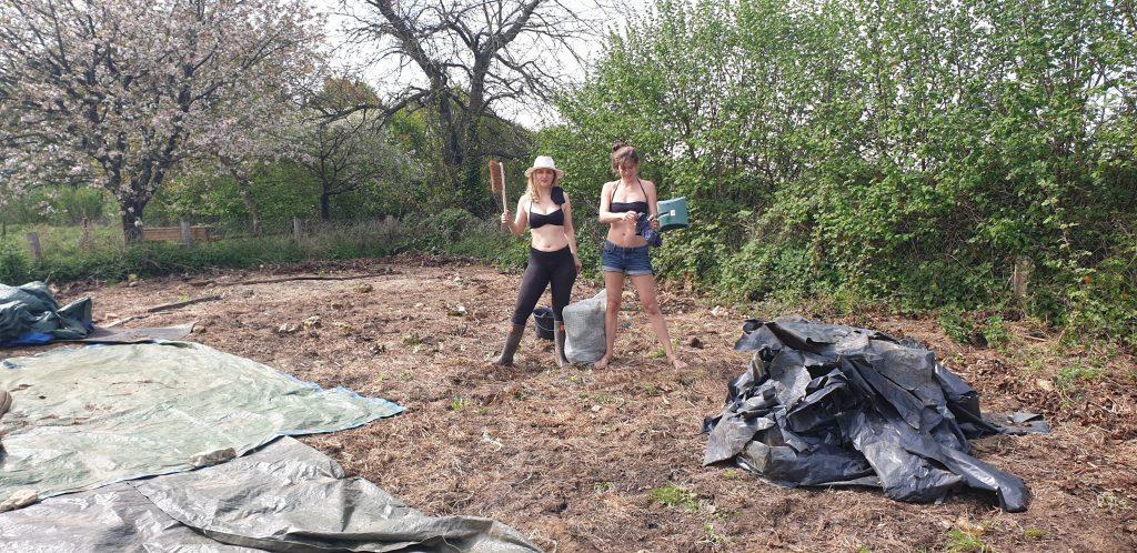 Blanche and Margerita bikinis in the veg plot