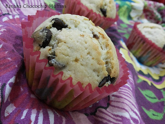 Banana Choco Chip Muffins – My 7th guest post for Raaz Food Love