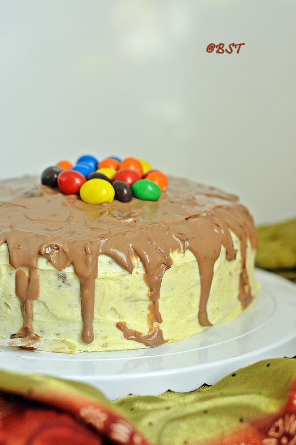 Checkerboard Cake with Ermine Frosting and Chocolate Ganache Drip