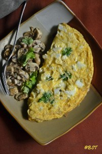 Double Cheese Omelette with Sauteed Mushrooms