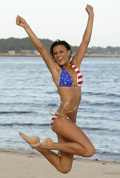 American Flag fourth of july string bikini