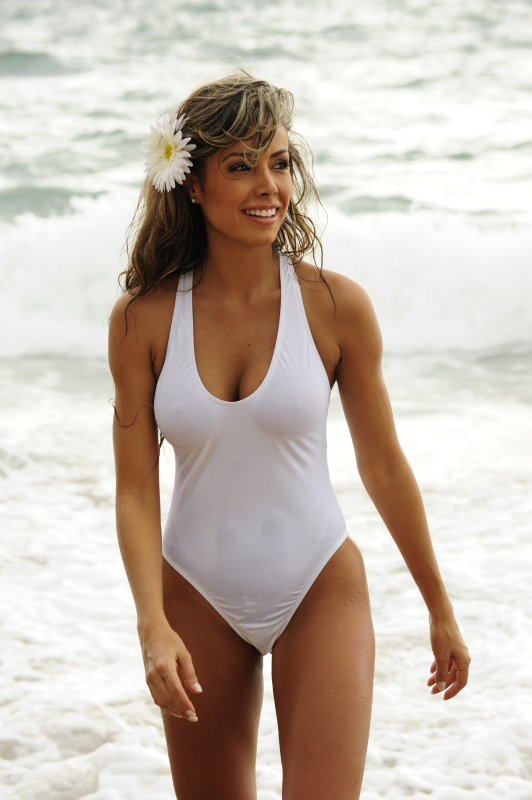 Sheer White One Piece Thong Swimsuit
