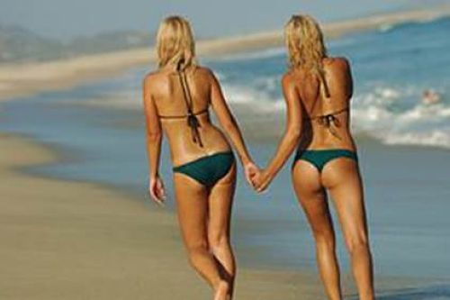 Strolling-Down-The-beach-In-Our-Bikinis