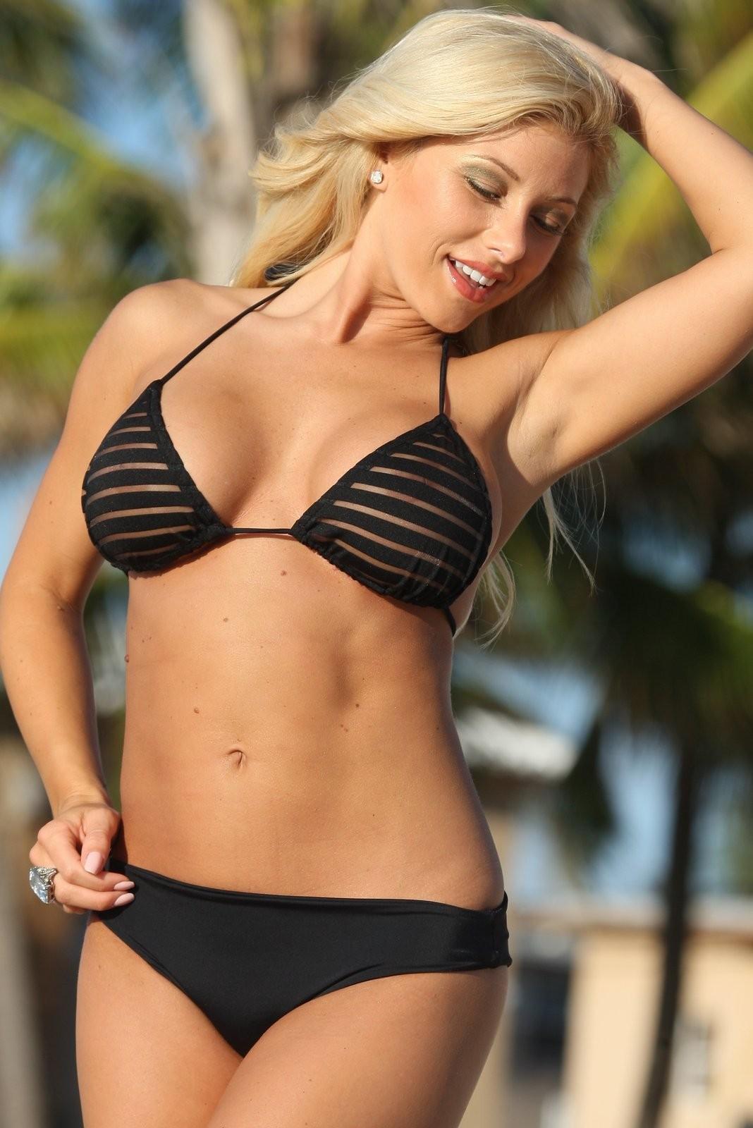 Sexy Black Striped Sheer Lingerie Style Romantic Bikini