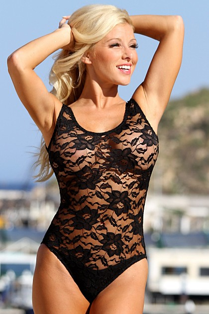 Sheer Black Lace One Piece Swimsuit