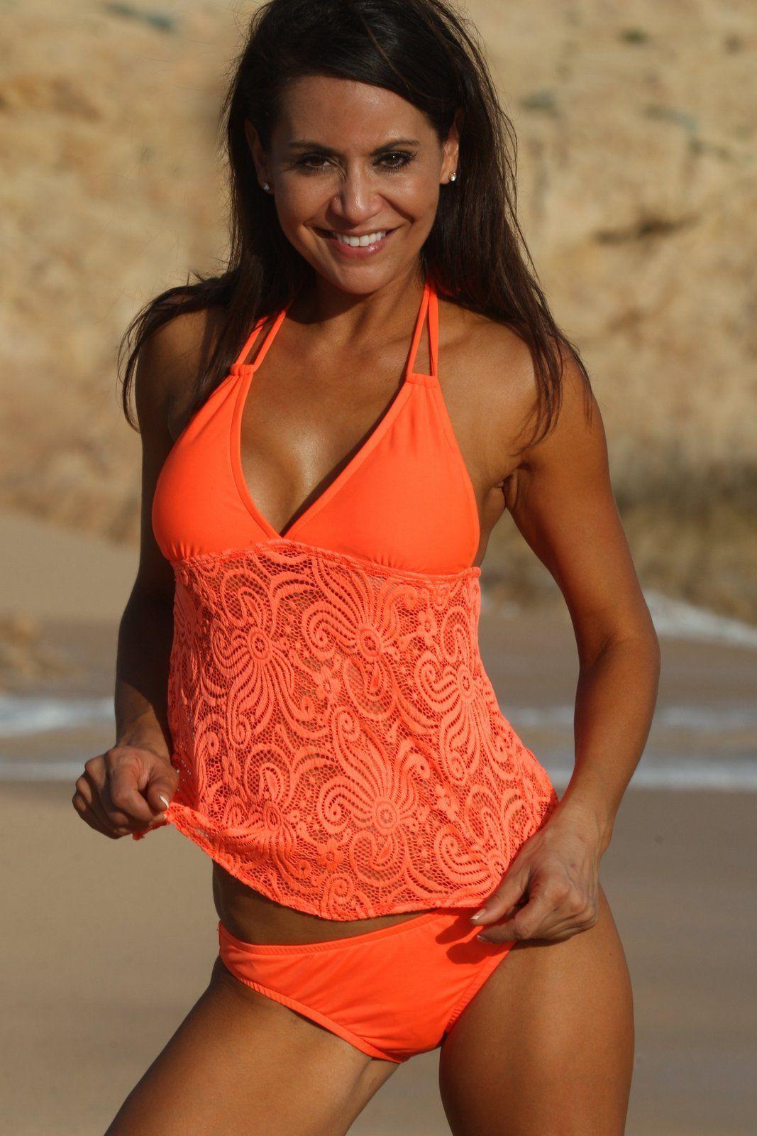 Open Back Neon Orange Tankini