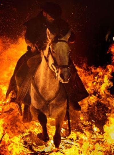 horseman in fire