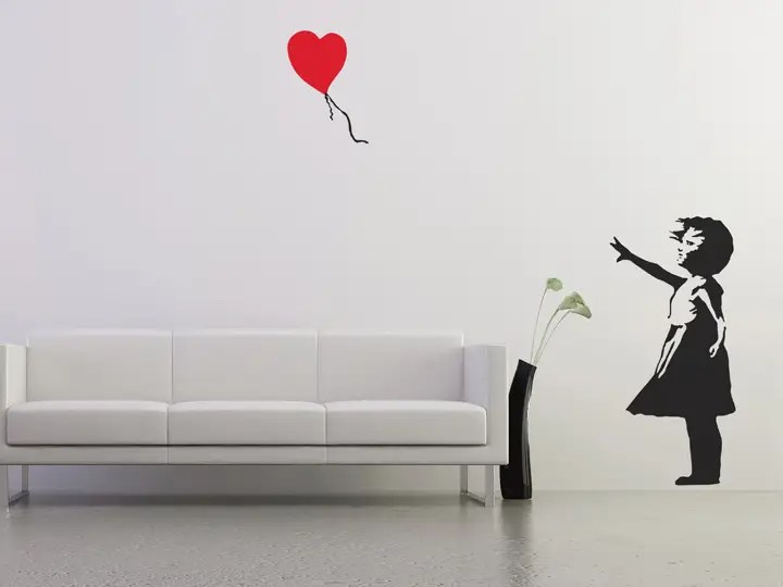 Banksy Balloon Girl Wallpaper Banksy Balloon Girl Wall Stickers The Binary Box