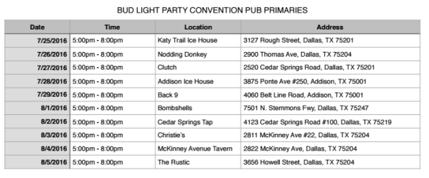 Bud Light Party Convention - Dallas Dates