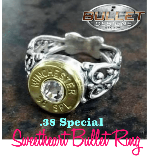 Bullet Designs .38 Special Antique Sweetheart Bullet Ring